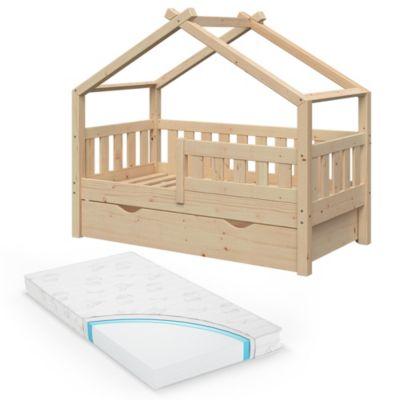Design Kinderbett 140 x 70 cm Natur mit Bettschublade Lattenrost und Matratze natur Gr. 70 x 140