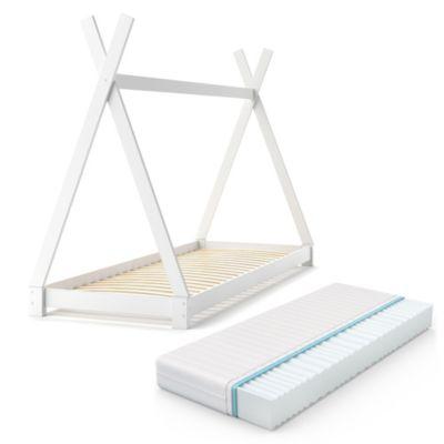 Kinderbett TIPI 90 x 200 cm Weiß mit Matratze weiß