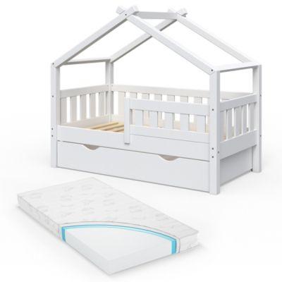 Design Kinderbett 140 x 70 cm Weiß mit Bettschublade Lattenrost und Matratze weiß Gr. 70 x 140
