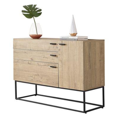 en.casa Sideboard Hylte Kommode Konsole mit 3 Schubladen Metallgestell 115x40x79cm Schwarz Eiche-Optik holzfarben