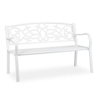 relaxdays Vintage Gartenbank in Weiß weiß