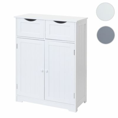 HWC Mendler Kommode mit 2 Schubladen und 2 Türen weiß