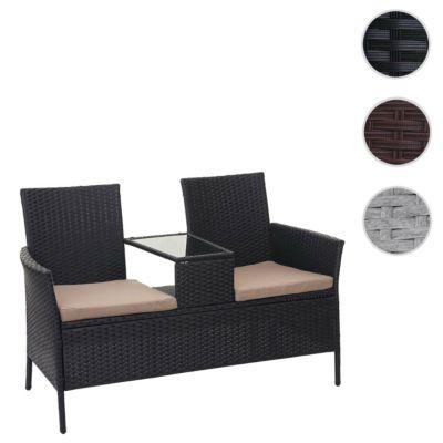 HWC Mendler Sitzgruppe Gartenbank mit Tisch creme/schwarz