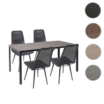 HWC Mendler Gartengarnitur Gartentisch und 4x Stuhl grau