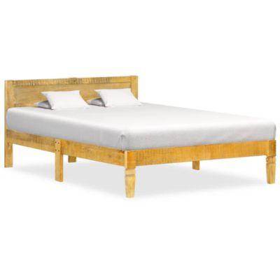 Bettgestell Mango Massivholz Doppelbett Holzbett Futonbett beige