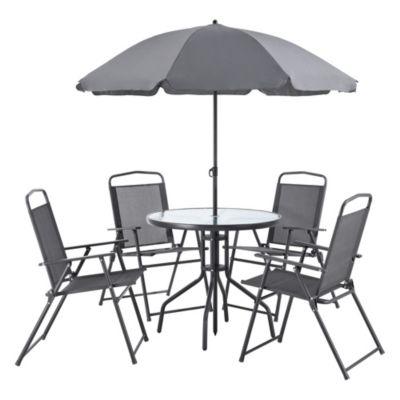 en.casa Gartenmöbelset Milagro 6-tlg. Loungeset Sitzgruppe Tisch 4 Stühle und Sonnenschirm Schwarz Dunkelgrau schwarz/grau