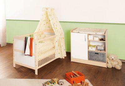 Kinderbett & Wickelkommode Sparset FLORIAN, Ahorn cremeweiß Gr. 70 x 140