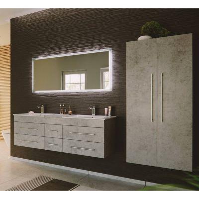 Badmöbel Set Beton Optik grau NEWLAND-02 Doppel-Waschtisch, LED-Spiegel, 2 Hochschränke, B/H/T ca. 263/200/47 cm