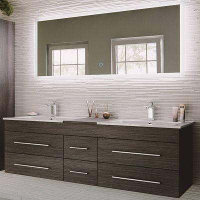 Badmöbel Set anthrazit gemasert NEWLAND-02 153cm Waschtisch, 2 Waschbecken, LED-Spiegel, B/H/T ca. 153/200/47 cm schwarz
