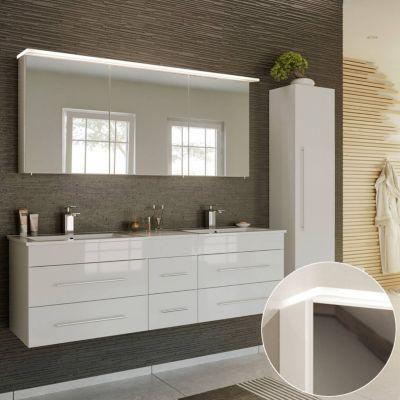 Badmöbel Komplett Set in Hochglanz weiß NEWLAND-02 153cm Waschtisch mit Unterschrank, LED-Spiegelschrank, Hochschrank, B/H/T ca. 208/200/47 cm