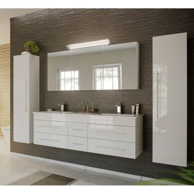 Badmöbel Komplett Set weiß Hochglanz NEWLAND-02 153cm Waschtisch, LED-Spiegelschrank, 2 Hochschränke, B/H/T ca. 263/200/47 cm