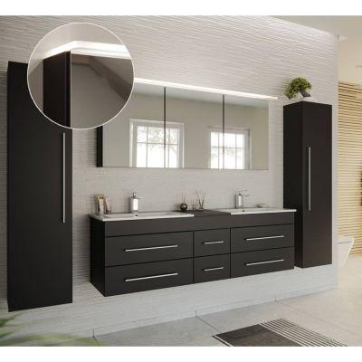 Badmöbel Komplettset in schwarz Seidenglanz NEWLAND-02 153cm Waschtisch mit Unterschrank, LED-Spiegelschrank, 2 Hochschränke, B/H/T ca. 263/200/47 cm