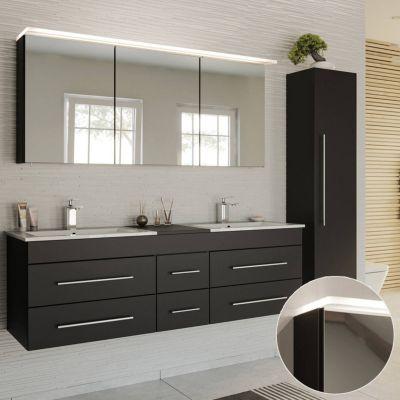 Badmöbel Set in schwarz Seidenglanz NEWLAND-02 153cm Waschtisch mit Unterschrank, LED-Spiegelschrank, Hochschrank, B/H/T ca. 208/200/47 cm