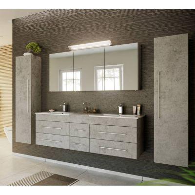 Badmöbel Komplett Set Beton Optik NEWLAND-02 153cm Waschtisch, LED-Spiegelschrank, 2 Hochschränke, B/H/T ca. 263/200/47 cm grau