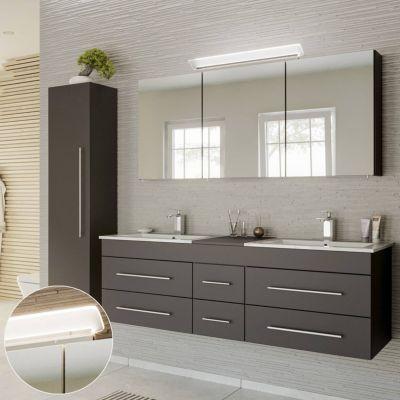 Badmöbel Set seidenglanz anthrazit NEWLAND-02 Waschtisch mit 2 Waschbecken, LED-Spiegelschrank- Hochschrank, B/H/T ca. 208/200/47 cm schwarz