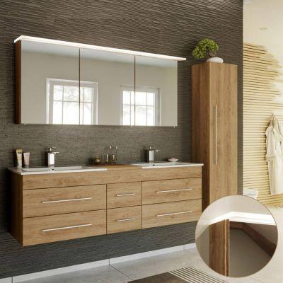 Badmöbel Set in Eiche hell NEWLAND-02 Doppel-Waschtisch mit Unterschrank, LED-Spiegelschrank, Hochschrank, B/H/T ca. 208/200/47 cm braun