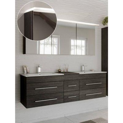 Badmöbel Waschtplatz Set anthrazit NEWLAND-02 Doppel-Waschtisch mit Unterschrank, LED-Spiegelschrank, B/H/T ca. 153/200/47 cm schwarz