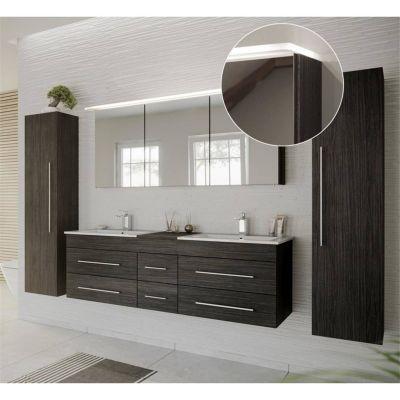 Badmöbel Set in anthrazit gemasert NEWLAND-02 Doppel-Waschtisch mit Unterschrank, LED-Spiegelschrank, Hochschrank, B/H/T ca. 263/200/47 cm schwarz