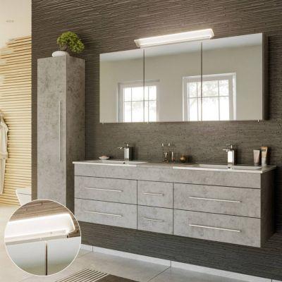 Badmöbel Set in Beton Optik NEWLAND-02 Waschtisch 153cm mit 2 Waschbecken, LED-Spiegelschrank, B/H/T ca. 208/200/47 cm grau