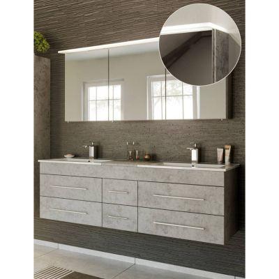 Badmöbel Waschplatz Set in Beton Optik NEWLAND-02 Doppel-Waschtisch mit Unterschrank, LED-Spiegelschrank, B/H/T ca. 153/200/47 cm grau