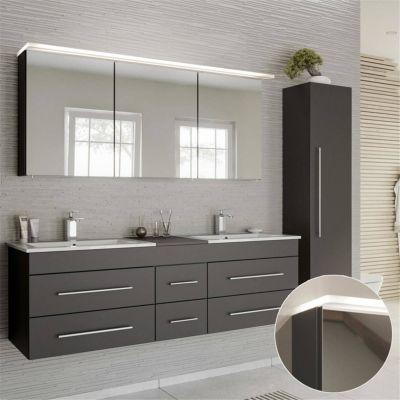 Badmöbel Set in anthrazit NEWLAND-02 Doppel-Waschtisch mit Unterschrank, LED-Spiegelschrank, Hochschrank, B/H/T ca. 208/200/47 cm schwarz