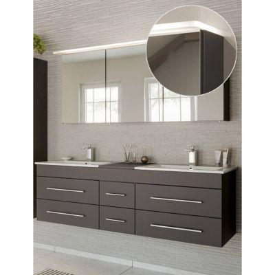 Badmöbel Waschlatz Set in anthrazit NEWLAND-02 Doppel-Waschtisch mit Unterschrank, LED-Spiegelschrank, B/H/T ca. 153/200/47 cm schwarz