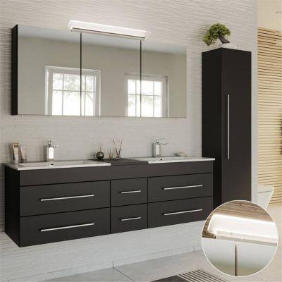 Badmöbel Set Seidenglanz schwarz NEWLAND-02 Waschtisch 153cm mit 2 Waschbecken, LED-Spiegelschrank, Hochschrank, B/H/T ca. 208/200/47 cm