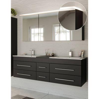 Badmöbel Waschplatz Set schwarz seidenglanz NEWLAND-02 Doppel-Waschtisch mit Unterschrank, LED-Spiegelschrank, B/H/T ca. 153/200/47 cm