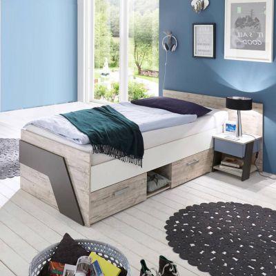 Jugendbett Set mit Nachttisch LEEDS-10 in Sandeiche Nb. mit weiß, Lava und Denim Blau, 90x200cm grau Gr. 90 x 200