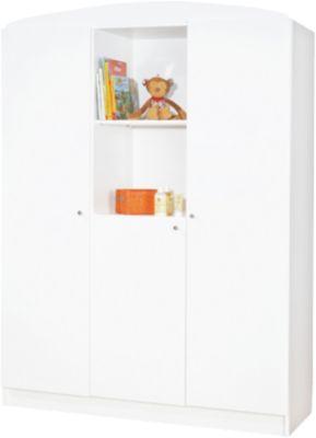 Kleiderschrank JIL, 3-türig, Kiefer/Weiß lackiert weiß