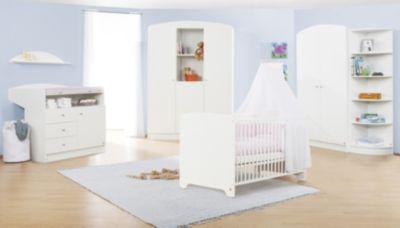 Komplett Kinderzimmer JIL, 3-tlg. (Kinderbett, Wickelkommode und 2-türiger Kleiderschrank), Kiefer/Weiß lackiert weiß Gr. 70 x 140