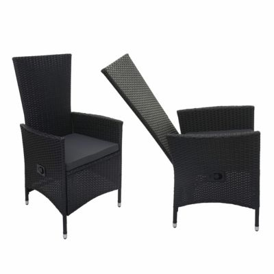 HWC Mendler 2x Poly-Rattan Sessel mit verstellbarer Lehne anthrazit