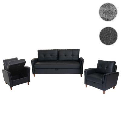 HWC Mendler 3-1-1 Couchgarnitur, 3er Sofa und 2 Sessel mit Staufach, Kunstleder schwarz