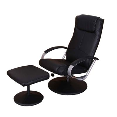 HWC Mendler Relaxsessel mit Hocker schwarz
