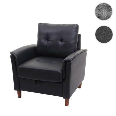 HWC Mendler Loungesessel mit Staufach, Kunstleder schwarz