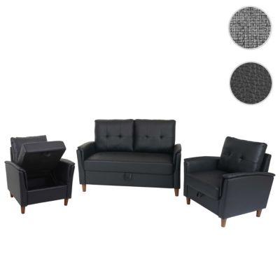 HWC Mendler 2-1-1 Couchgarnitur, 2er Sofa und 2 Sessel mit Staufach, Kunstleder schwarz