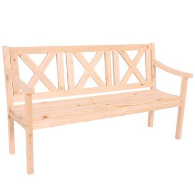 HWC Mendler Gartenbank 3-Sitzer natur