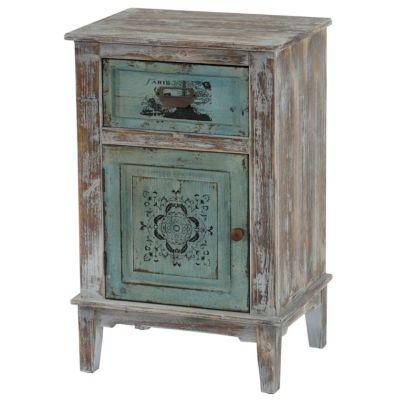 HWC Mendler Kommode mit 1 Schublade und 1 Tür Vintage, 75x48x36cm grün/blau