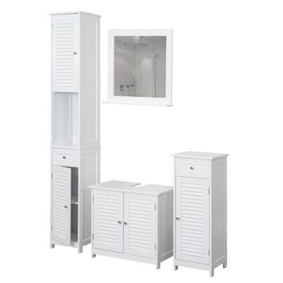 HWC Mendler Badezimmerset, Hochschrank Waschbeckenunterschrank Kommode Wandspiegel, Landhaus weiß