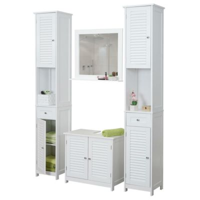 HWC Mendler Badezimmerset, 2x Hochschrank Waschbeckenunterschrank Wandspiegel, Landhaus weiß