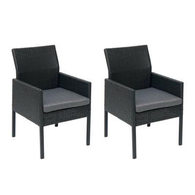 HWC Mendler 2x Poly-Rattan Sessel, schwarz, Kissen dunkelgrau, Standard-Version schwarz/grau