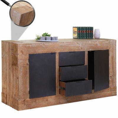 HWC Mendler Sideboard rustikal massiv 90x160x45cm braun/schwarz