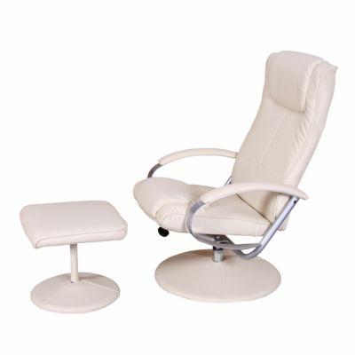 HWC Mendler Relaxsessel mit Hocker weiß/beige