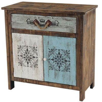 HWC Mendler Kommode mit 1 Schublade und 2 Türen Vintage, 84x80x40cm blau/weiß