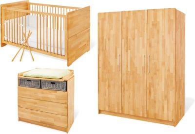 Pinolino Komplett Kinderzimmer groß NATURA, 3-tlg. (Kinderbett, Wickelkommode breit und 3-türiger Kleiderschrank), FSC®-zertifizierte Buche vollmassiv, geölt holzfarben Gr. 70 x 140