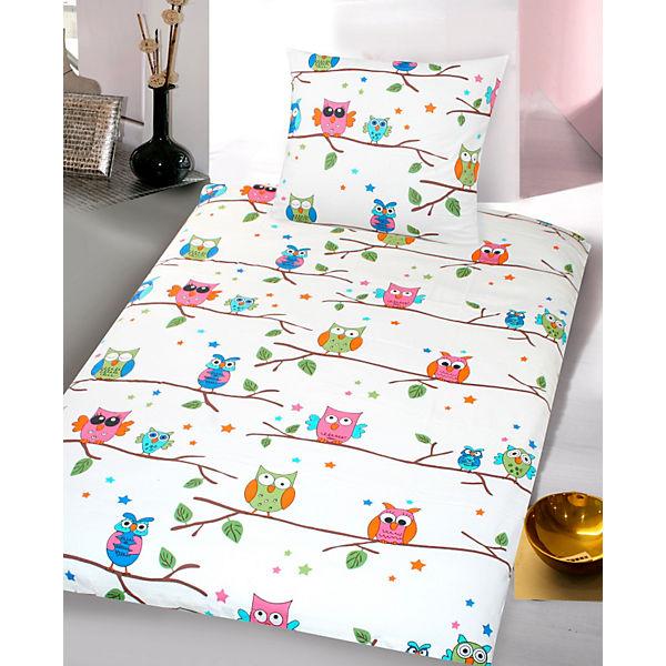 Kinderbettwäsche Eulen Cretonne Weiß 135 X 200 Cm Weiß