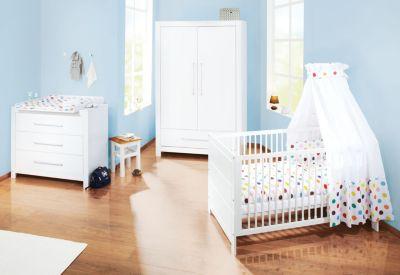 Komplett Kinderzimmer PURO, 3-tlg. (Kinderbett, Wickelkommode breit und 2-türiger Kleiderschrank), Fichte vollmassiv, Weiß lasiert weiß Gr. 70 x 140
