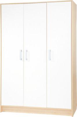 Kleiderschrank FLORIAN, 3-türig, Ahorn/Creme weiß