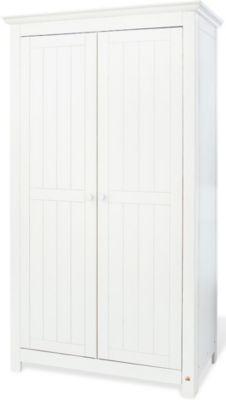 Kleiderschrank NINA, 2-türig, massiv/Weiß lasiert weiß