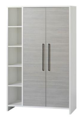 Kleiderschrank ECO SILBER, Pinie silberfarbig/weiß, 2-türig mit Seitenregal grau